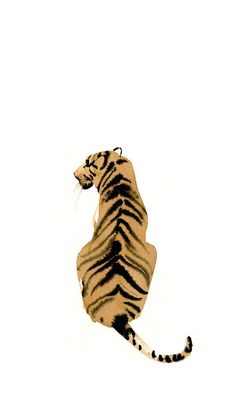 Tiger painting illustration simple watercolor ink art animal