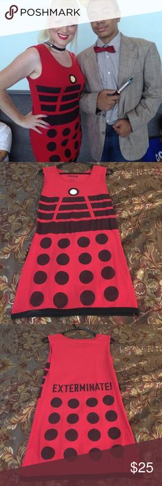 Dr. Who Dalek Dress EXTERMINATE! LoL! Fun Dr. Who Dalek dress. This is perfect for cosplaying at conventions or just to show off your inner geek! Bought it at Hot Topic. Hot Topic Dresses Mini
