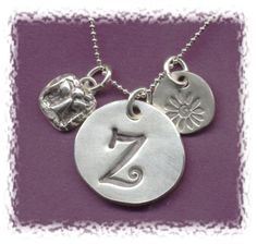 Pendant/Charm Precious Metal Clay Initial by purplemoongifts, $24.00