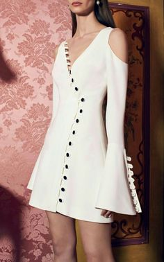 Galen Button Summer Long Sleeve Mini White Casual Daily Party Dress by ALEXIS for Preorder on Moda Operandi Weird Fashion, Look Fashion, Fashion Details, Womens Fashion, Fashion Design, Fashion Trends, Latest Fashion, Designer Dresses, Beautiful Dresses