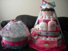 Cupcake themed Diaper cake and mini Cupcake