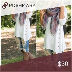 New Best Selling Side Button Tunic Restocked white 3/4 sleeve rayon and spandex side Button Tunic . Great for layering and looks great with denim and leggings . Flares at the Button. Great amount of stretch . Best selling style Nwot . Vivacouture Tops
