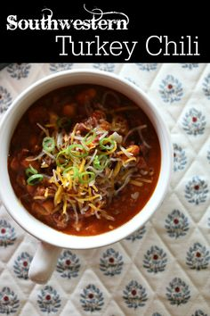Southwestern Turkey Chili made with New Mexico Red chile, lean ground turkey and an assortment of beans.  CeceliasGoodStuff.com | Good Food for Good People s