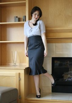 Banksia styling: tucked in with a high waisted skirt for the office