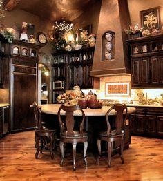 Bronze paint, dark wood kitchen [ Wainscotingamerica.com ] #kitchen #wainscoting #design