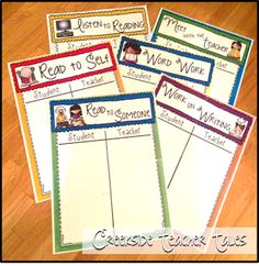 FREE and CUTE Daily 5 Anchor Charts! I am loving using these in my room! Takes up less space than my regular anchor charts!