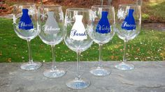 5 snowflake glasses, Bridesmaids gift glasses for winter wedding, blue and white with name over dress on Etsy, $65.00