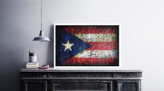 Flag of Puerto Rico. Hand painted wall decor.