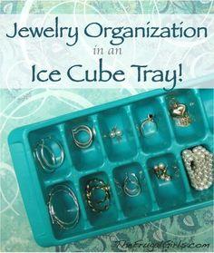 DIY Ear Ring Organizer. Ice cube Trays.