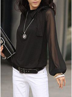 Solid Round Neck Lantern Sleeve Casual Elegant Blouses - How To Be Trendy Cheap Womens Tops, Casual Skirt Outfits, Style Casual, Black Blouse, Blouses For Women, Ladies Blouses, Women's Blouses, Ideias Fashion, Costume