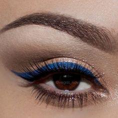 Eyeliner Shapes - how to do eyeliner Navy Blue Eyeliner, Navy Eye Makeup, Eyeliner Brown Eyes, Blue Eyeliner Looks, Navy Eyeshadow, Gold Makeup Looks, Colorful Eye Makeup, No Eyeliner Makeup, Makeup For Brown Eyes