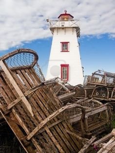Lighthouse and Lobster Traps, North Rustico, PEI