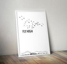 Fly High poster children wall art neutral by OrangeKiteLabs Art Wall Kids, Wall Art, Nursery Neutral, Typography Prints, Nursery Decor, Poster Prints, Inspirational Quotes, Motivation, Children
