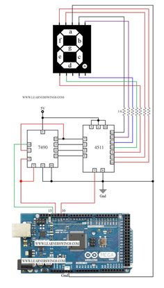 Control a Common Cathode Seven Segment Display using 7490, 4511 and Arduino Mega Read more at: http://www.learnerswings.com/2014/10/control-common-cathode-seven-segment_30.html