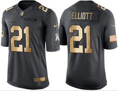 a5f101a17f0 Nike Cowboys #21 Ezekiel Elliott Black Youth Stitched NFL Limited Gold  Salute to Service Jersey