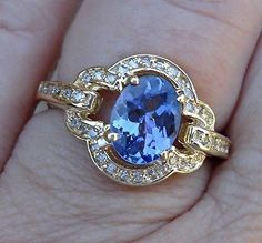 Custom Setting Tanzanite Ring 14K Yellow Gold by LuxinelleJewelry