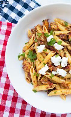 Penne Pasta With Sun-dried Tomato Pesto, Eggplant & Goat Cheese – Italian Food Forever #italianrecipes #pastarecipes #quickandeasypasta