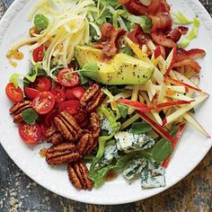 Waldorf Cobb Salad | This makes a company-perfect sidekick for anything roasted or grilled. The concentrated flavor of an apple cider reduction, plus a shot of sorghum syrup, add rich complexity, not just sweetness, to the vinaigrette. | SouthernLiving.com