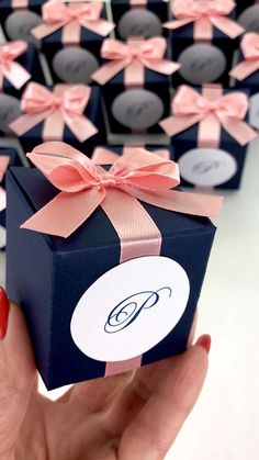 Navy Blue & Blush wedding favor box with satin ribbon bow and custom names, Elegant monogram wedding bonbonniere. Personalized gift boxes make a unique way to thank guests for attending your special day. Destination Wedding Welcome Bag, Wedding Welcome Bags, Personalized Wedding Favors, Personalized Gifts, Monogram Wedding, Wedding Favor Boxes, Wedding Gifts, Blue And Blush Wedding, Ivory Wedding