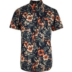Blue Jack and Jones Vintage floral print shirt (42 CAD) ❤ liked on Polyvore featuring men's fashion, men's clothing, men's shirts, men's casual shirts, shirts, mens button front shirts, mens casual short-sleeve button-down shirts, mens short sleeve casual shirts, mens floral shirts and flower print mens shirt