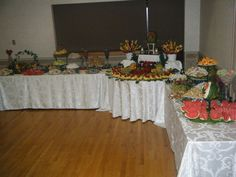 Wedding Fruit Tables #simplydelicious Fruit Tables, Buffet Set Up, Fruit Displays, Showers, Celebration, Cocktails, Table Decorations, Pictures, Party