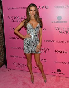 Alessandra Ambrosio on the pink carpet in her metallic strapless dress.