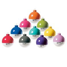 Pantone Christmas tree ornaments -- LOVE!