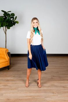 Modest Clothing, Navy Pleated Skirt, Modest Clothes Modest Skirts, Modest Outfits, Modest Fashion, Skirt Fashion, Short Skirts, Fashion Dresses, Modest Clothing, Navy Pleated Skirt, Midi Skirt