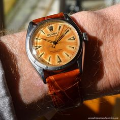 Today on my wrist: A 1950 Rolex Oyster Perpetual Reference 6085 with a tropical, golden brown dial. Wow! An unstoppable force of a watch. (Store Inventory # 10912, listed at $3200, available for purchase online & in store.)