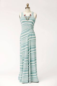 This is adorable!  Love the color, the waist detail and the stripes!  Goodness I love stripes!