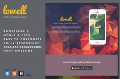 Lowell - App Landing Page. Bootstrap Themes. $6.00