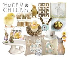 """""""Bunnies and Chicks"""" by artasshine ❤ liked on Polyvore featuring interior, interiors, interior design, home, home decor, interior decorating, Harrods, Pier 1 Imports, Sullivan Anlyan and Lladró"""