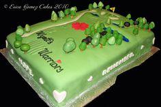 Cake – Fondant golf course-themed cake for fundraiser for Wyatt's Warriors http://www.sevenlittlemonkeys.com