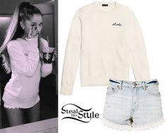 Ariana Grande posted a picture a few days ago wearing a Coach Lucy Intarsia Crewneck Sweater ($295.00) and Free People Lacey Denim Cutoff Short