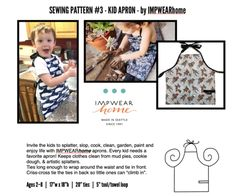 Sewing Patterns – IMPWEARhome Clothes Patterns, Sewing Patterns Free, Free Sewing, Laminated Cotton Fabric, Sewing Aprons, Kids Apron, Sewing Class, 3 Kids, Double Knitting