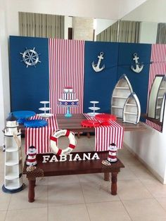 Tri-fold board wrapped with wrapping paper. Baby Shower Parties, Baby Shower Themes, Baby Boy Shower, Baby Shower Decorations, Nautical Birthday Cakes, Navy Birthday, Nautical Mickey, Nautical Party, Mickey Mouse Marinero