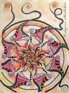 """""""Energy"""" mixed media, matted/framed to 16x20"""" $245 Mandala Artwork © Lynne Medsker Art & Photography, LLC"""