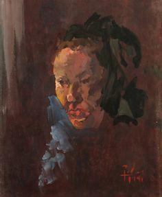 RETRATO DE YOLANDA GUILHERME - GUACHE SOBRE CARTÃO - 77X63 cm PORTRAIT OF YOLANDA - GOUACHE ON CARD Artist: Fernando Palma