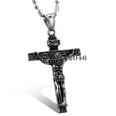 Retro Herren Edelstahl Jesus Christus kreuz Anhänger Halskette Modeschmuck Charm