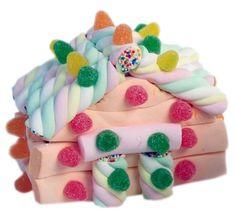 Tartas de nubes y golosinas. Todas las tartas llevan la etiqueta del registro sanitario. Se envían recién montadas, se presentan en papel celofán. Peso: 250 grs.