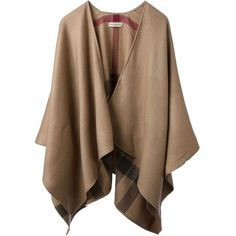 BURBERRY BRIT poncho scarf (€545) ❤ liked on Polyvore featuring outerwear, jackets, tops, cardigans, coats, brown poncho, burberry poncho, wool poncho, burberry y camel poncho