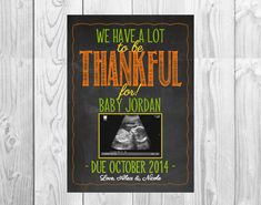 Thanksgiving Themed Pregnancy Announcement Card by MMasonDesigns, $15.00