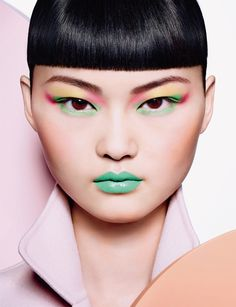 The Chinese model wears bold, pop art inspired makeup looks in the editorial (Dior Makeup's image and creative director Peter Philips)