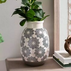 White Brushed Medallion Ceramic Vase from Kirkland's Kirkland Home Decor, Home Decor Vases, Decorating Small Spaces, Decorating Ideas, Bottle Painting, Ceramic Vase, Traditional House, Home Decor Accessories, Flower Pots