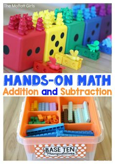 Hands-on Math for Addition and Subtraction! Mastering the basics is crucial in order to move on to more complex math procedures. This post has 7 different ways to help your students master basic addition and subtraction!