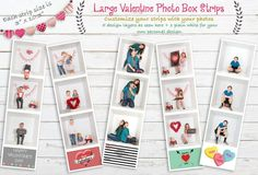 BUNDLE PACK - ALL 3 SETS OF PHOTO BOOTH AND ACCORDION STRIPS VALENTINE'S DAY TEMPLATE CARDS FOR INSIDE THE BOX AND GENERAL PHOTOGRAPHY Valentines Day Card Templates, Greeting Card Template, Valentine Day Cards, Box Design Templates, Holiday Photography, Inside The Box, Large Photos, Custom Cards, Photo Booth