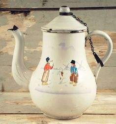 Vintage antique Dutch coffee pot white by SmeerlingAntiques