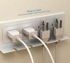 Hang On Outlet ~ Great idea for keeping cords you want to unplug handy so you can replug them on demand.