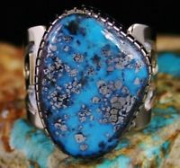 Dina Huntinghorse Morenci Turquoise Solid 14K Gold Over Sterling Silver Ring
