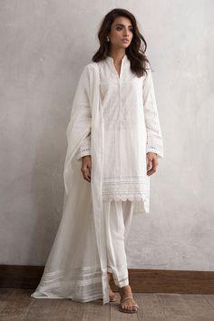 Elegant white 3 piece ready to wear dress by Nida Azwer traditional Pakistani clothes - Online Shopping in Pakistan Pakistani Fashion Casual, Pakistani Dresses Casual, Pakistani Dress Design, Indian Fashion, Casual Dresses, Eid Outfits Pakistani, Pakistani Clothing, Boy Fashion, Pakistani Bridal